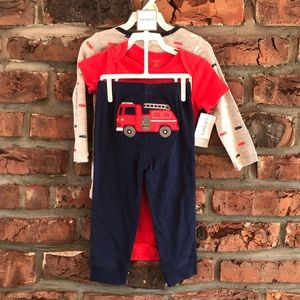 Baby Carters 3 Piece  Firetruck Red & Navy Layette